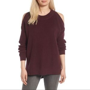 BP Burgundy Cold Shoulder Tunic Sweater